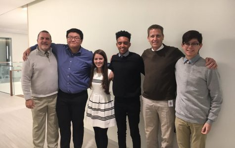 Mr. Beitler, Dr. Willmore and the three Posse winners photo graphed with senior Jose Pomaraino who was the Quest Brige Winner. (He won a full ride to Columbia.)