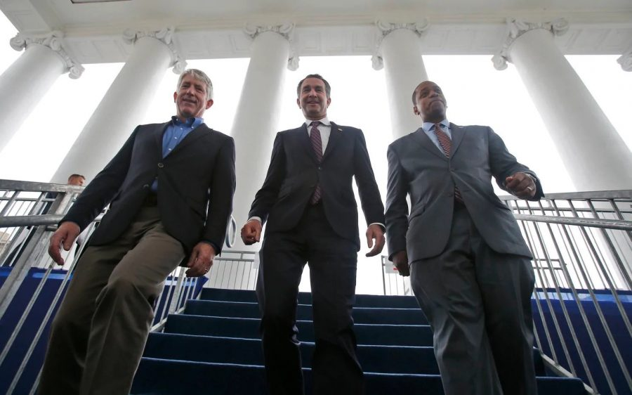 Virginia Attorney General Mark Herring (left), Governor Ralph Northam (middle), Lieutenant Governor Justin Fairfax (right) walking down the stairs together.