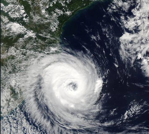 An arial view of Hurricane Katrina.