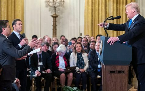 Mandatory Credit: Photo by ERIK S LESSER/EPA-EFE/REX/Shutterstock (9970479f) US President Donald J. Trump (R) speaks with CNN reporter Jim Acosta (L) during a press conference in the East Room of the White House in Washington, DC, USA, 07 November 2018.