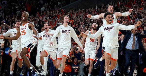 The UVA bench celebrates the win!