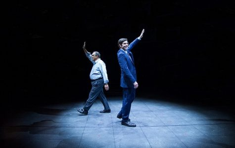 Edward Gero (Thomas Everson) and Thomas Keegan (Robert Merkin) with the spotlight on them during Junk.
