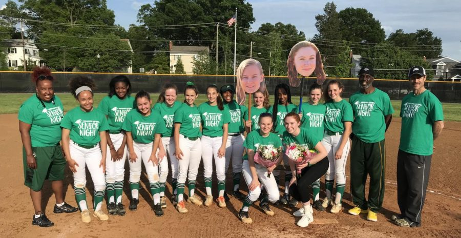 The team on Senior Night this year celebrating Amy and Shelby.