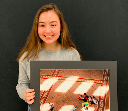 Julia with her art.