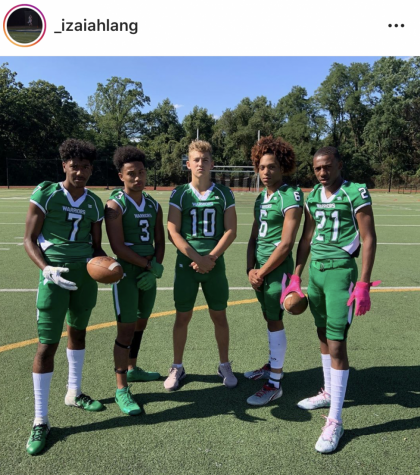 This picture is from last season on the field. Cason (middle) has gone on to Averett University. (From left to right) Izaiah, Dontae, Cameron, and Lukai will take to the field in February.