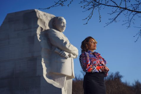 Ms. Dempsey-Waters at the MLK jr. Memorial in Washington DC.